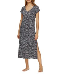 Dkny Go With The Flow Maxi Nightgown White Print