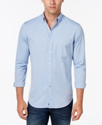 Club Room Men's Big And Tall Solid Oxford Shirt Classic Fit Light Blue