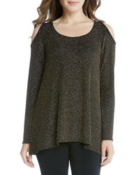 Karen Kane Scoopneck Sparkle Knit Cold Shoulder Sweater Moss