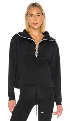 Nike Np Cropped Mock Neck Anorak In Black. Black And Metallic Silver