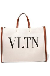 Valentino Garavani Plage Large Leather Trimmed Printed Canvas Tote Neutral