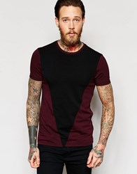 Asos Muscle T Shirt With Triangle Panel In Oxblood Oxbloodblack
