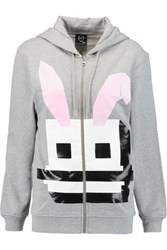 Mcq By Alexander Mcqueen Printed Cotton Hooded Sweatshirt Gray