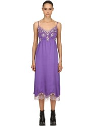 Pink Memories Silk And Lace Midi Dress Purple