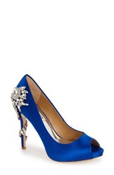 Women's Badgley Mischka 'Royal' Crystal Embellished Peeptoe Pump Iris