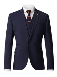 Gibson Men's Navy Jacket With Soft Red Check Blue