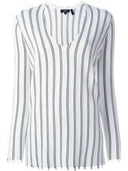 Theory Striped V Neck Sweater White