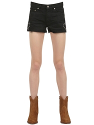 Saint Laurent Studded Stretch Cotton Denim Shorts Black