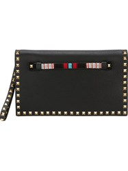 Valentino Garavani 'Rockstud' Beaded Clutch Black