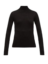 Versace High Neck Ribbed Sweater Black