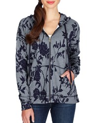 Lucky Brand Floral Patterned Hoodie Blue