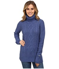 Columbia Hideaway Haven Cabled Turtleneck Bluebell Heather Women's Long Sleeve Pullover