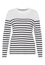 Hallhuber Striped Jumper With Subtle Stand Collar White