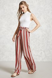 Forever 21 Striped Palazzo Pants Rust Beige