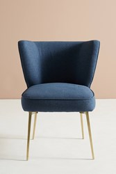 Anthropologie Performance Wool Clemence Dining Chair Navy