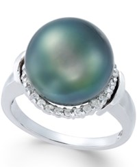 Macy's Cultured Tahitian Pearl 12Mm And Diamond 1 4 Ct. T.W. Ring In 14K White Gold
