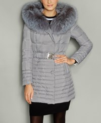 The Fur Vault Fox Trim Hooded Puffer Coat Light Grey