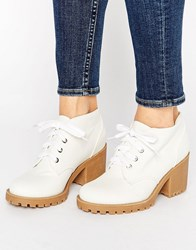 London Rebel Eyelet Lace Up Boots White