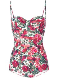 Dolce And Gabbana Rose Print Swimsuit Red