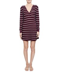 Candc California Striped Thermal Night Shirt Burgundy