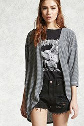 Forever 21 Striped Fleece Cocoon Cardigan Grey Black