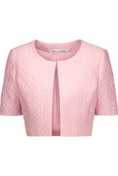 Oscar De La Renta Cropped Cotton Blend Cloque Jacket Baby Pink