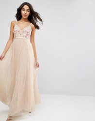 Needle And Thread Prarie Embroidery Tulle Maxi Dress Pink
