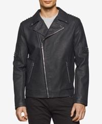 Calvin Klein Men's Faux Leather Asymmetric Moto Jacket Black
