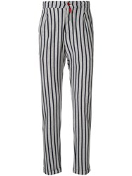 Kiton Striped Fitted Trousers Grey