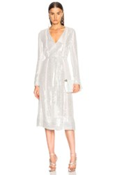 Sally Lapointe Sequin Belted Dress In Silver