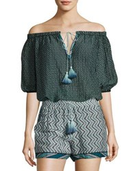Talitha Collection Off The Shoulder Cotton Silk Tassel Tie Blouse Navy