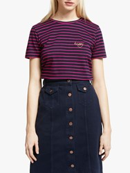 People Tree Happy Embroidered Stripe T Shirt Navy Pink