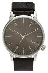 Men's Komono 'Winston' Round Dial Leather Strap Watch 40Mm