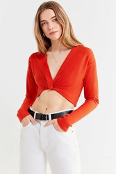Urban Outfitters Uo Rowen Twist Front Cropped Top Red