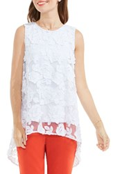 Vince Camuto Women's Floral Mesh High Low Blouse Ultra White