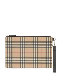 Burberry Vintage Check E Canvas And Leather Zip Pouch Brown