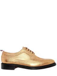 Thom Browne 35Mm Pebbled Leather Derby Shoes Gold