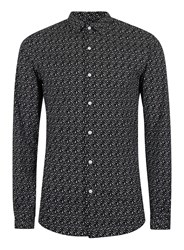 Topman White And Black Geo Print Stretch Muscle Fit Dress Shirt