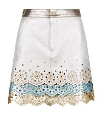 Hilfiger Collection Metallic Leather Mini Skirt Female Silver