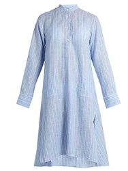 Palmer Harding Stand Collar Long Sleeved Striped Kaftan Blue Stripe