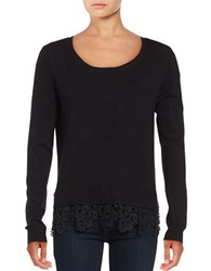 Lord And Taylor Scalloped Lace Hem Top Black
