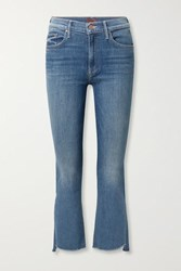 Mother The Insider Frayed Cropped High Rise Flared Jeans Dark Denim
