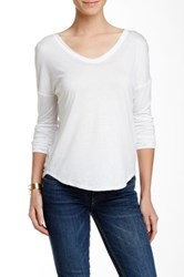 Fate Scoop Neck Long Sleeve Tee White