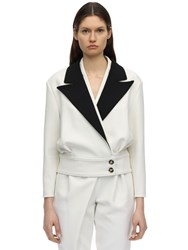 Proenza Schouler Stretch Wool Contrast Jacket White