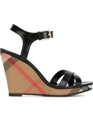 Burberry 'House Check' Wedge Sandals Black