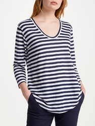 Winser London Pure Linen Striped Top Navy