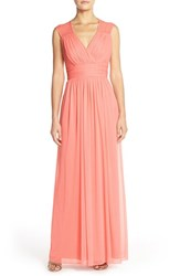 Women's Alfred Sung Shirred Chiffon Cap Sleeve Gown Apricot
