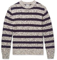 Camoshita Striped Cotton Blend Sweater Gray