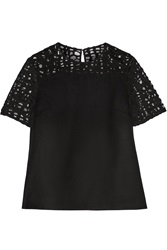 Jason Wu Felted Wool Blend And Lace Top