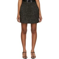 Tibi Black And Multicolor Recycled Tweed High Waisted Miniskirt